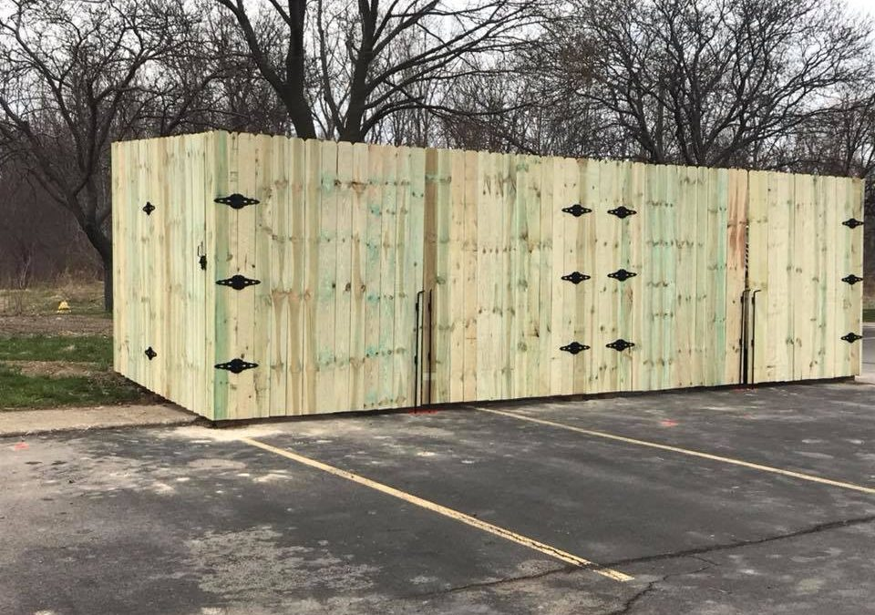 Dumpster Enclosure – 8 foot tall pressure treated wood